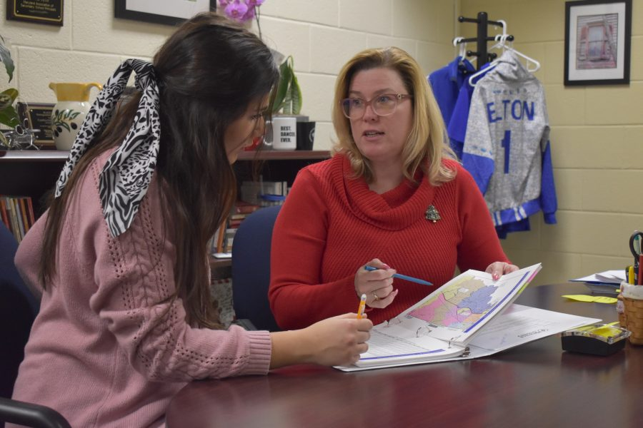 Natalie Knight-Griffin meets with Principal Cynthia Dillon.